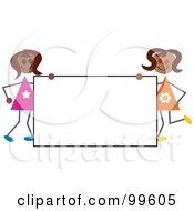 Royalty Free RF Clipart Illustration Of Hispanic Stick Girls Holding A Blank Sign