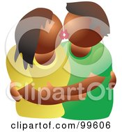 Royalty Free RF Clipart Illustration Of A Black Couple Embracing And Kissing by Prawny