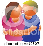 Royalty Free RF Clipart Illustration Of A Caucasian Couple Embracing And Kissing by Prawny