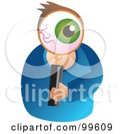 Royalty Free RF Clipart Illustration Of A Man Holding A Magnifying Glass In Front Of His Eye