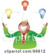 Royalty Free RF Clipart Illustration Of A Happy Businsesman Juggling Light Bulbs by Prawny