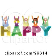 Royalty Free RF Clipart Illustration Of A Business Team Celebrating On HAPPY