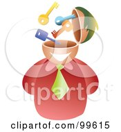Royalty Free RF Clipart Illustration Of A Businessman With A Key Brain