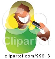 Royalty Free RF Clipart Illustration Of A Blond Woman Holding A Magnifying Glass In Front Of Her Mouth