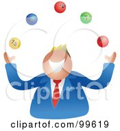 Royalty Free RF Clipart Illustration Of A Businessman Juggling Lottery Balls by Prawny