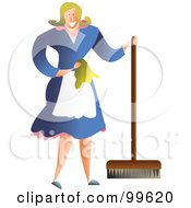 Happy Housewife Or Maid Using A Push Broom