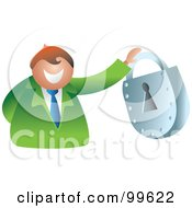 Royalty Free RF Clipart Illustration Of A Businessman Holding A Padlock by Prawny