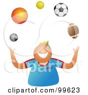 Royalty Free RF Clipart Illustration Of A Happy Boy Juggling Sport Balls