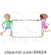 Royalty Free RF Clipart Illustration Of Stick Children Beside A Blank Sign