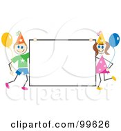 Royalty Free RF Clipart Illustration Of Stick Children Holding A Birthday Sign