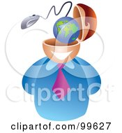 Royalty Free RF Clipart Illustration Of A Businessman With An Internet Brain