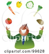 Royalty Free RF Clipart Illustration Of A Businessman Juggling Vegetables