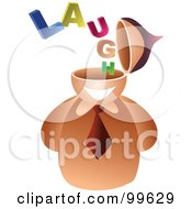 Royalty Free RF Clipart Illustration Of A Businessman With A Laugh Brain