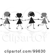 Royalty Free RF Clipart Illustration Of Silhouetted Stick Girls Holding Hands