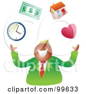 Royalty Free RF Clipart Illustration Of A Business Man Juggling Life Symbols by Prawny