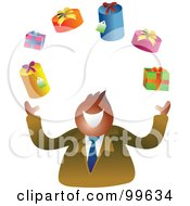 Royalty Free RF Clipart Illustration Of A Happy Businsesman Juggling Presents by Prawny