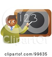 Royalty Free RF Clipart Illustration Of A Male Math Teacher Writing Numbers On A Board by Prawny