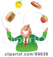 Businessman Juggling Food