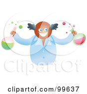 Royalty Free RF Clipart Illustration Of A Happy Scientist Holding Flasks