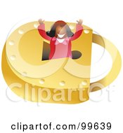Royalty Free RF Clipart Illustration Of A Businesswoman In A Padlock by Prawny