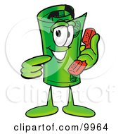 Clipart Picture Of A Rolled Money Mascot Cartoon Character Holding A Telephone by Toons4Biz