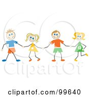 Royalty Free RF Clipart Illustration Of Caucasian Stick Children Holding Hands