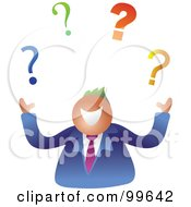 Royalty Free RF Clipart Illustration Of A Happy Businsesman Juggling Questions by Prawny