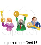 Royalty Free RF Clipart Illustration Of A Business Team Holding Keys