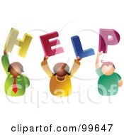 Royalty Free RF Clipart Illustration Of A Business Team Holding HELP