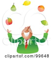 Royalty Free RF Clipart Illustration Of A Businessman Juggling Fruit by Prawny