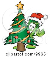 Clipart Picture Of A Rolled Money Mascot Cartoon Character Waving And Standing By A Decorated Christmas Tree