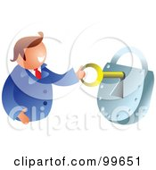 Royalty Free RF Clipart Illustration Of A Businessman Unlocking A Padlock by Prawny