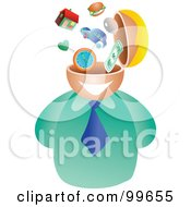 Royalty Free RF Clipart Illustration Of A Businessman With A Lifestyle Brain