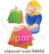 Royalty Free RF Clipart Illustration Of A Happy Blond Woman Carrying Shopping Bags by Prawny