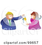 Royalty Free RF Clipart Illustration Of A Businessman Handing A Woman Keys by Prawny
