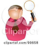 Royalty Free RF Clipart Illustration Of A Businessman Holding Up A Magnifying Glass