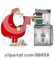 Royalty Free RF Clipart Illustration Of Santa In His Pjs And Bunny Slippers Getting Himself A Cup Of Coffee