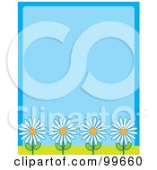 Royalty Free RF Clipart Illustration Of A Blue Background With Four White Daisy Flowers Along The Bottom by Maria Bell
