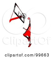 Royalty Free RF Clipart Illustration Of A Red And Black Man Leaping To Slam Dunk A Basketball