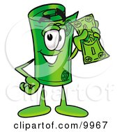 Clipart Picture Of A Rolled Money Mascot Cartoon Character Holding A Dollar Bill