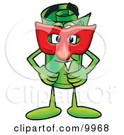 Clipart Picture Of A Rolled Money Mascot Cartoon Character Wearing A Red Mask Over His Face by Toons4Biz