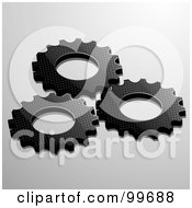 Royalty Free RF Clipart Illustration Of Three Black Textured Cogs Over Gray by elaineitalia