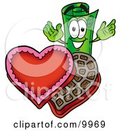 Clipart Picture Of A Rolled Money Mascot Cartoon Character With An Open Box Of Valentines Day Chocolate Candies