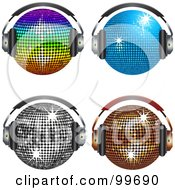Royalty Free RF Clipart Illustration Of A Digital Collage Of Four Shiny Disco Balls Wearing Headphones