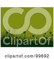 Royalty Free RF Clipart Illustration Of A Horizontal Background Of Silhouetted Green Flowers And Grass Over Green