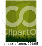 Royalty Free RF Clipart Illustration Of A Vertical Background Of Silhouetted Green Trees Flowers And Grass Over Green