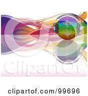 Royalty Free RF Clipart Illustration Of A Rainbow Disco Ball With Headphones On A Reflective Surface With Colorful Waves Over White by elaineitalia