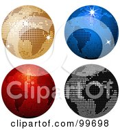 Digital Collage Of Four Sparkly Colorful Disco Ball Globes