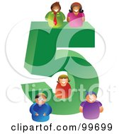 Royalty Free RF Clipart Illustration Of People Around A Large Number 5