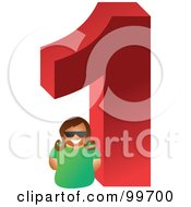 Royalty Free RF Clipart Illustration Of A Woman With A Large Number 1